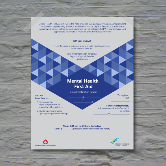 Poster for a mental health first aid seminar held in Toronto, Ontario