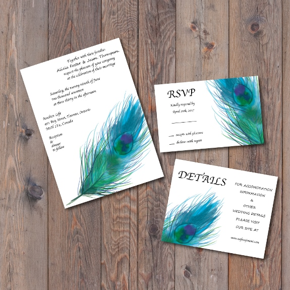 Single Peacock Feather Invitation Suite available for purchase on my Etsy shop
