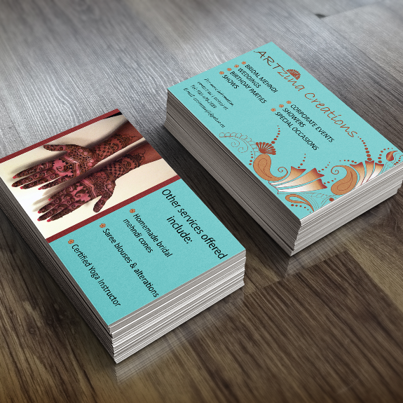 Business card design for a henna artist located in Markham, Ontario
