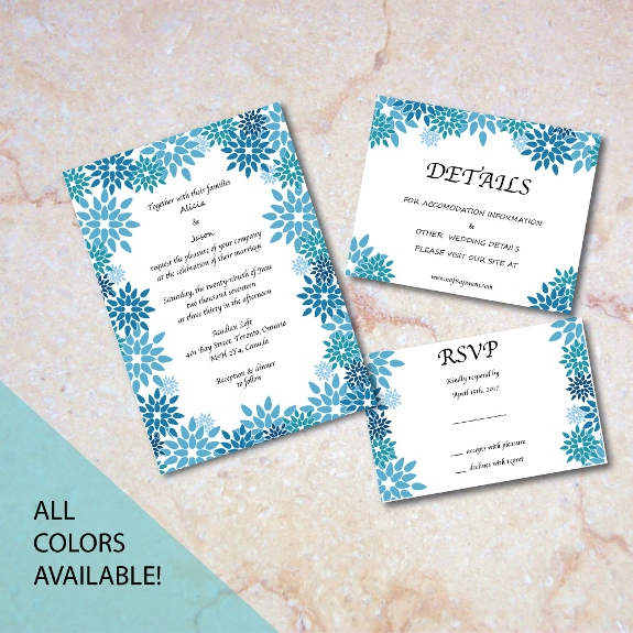 Bohemian Garden Flowers Invitation Suite available for purchase on my Etsy shop