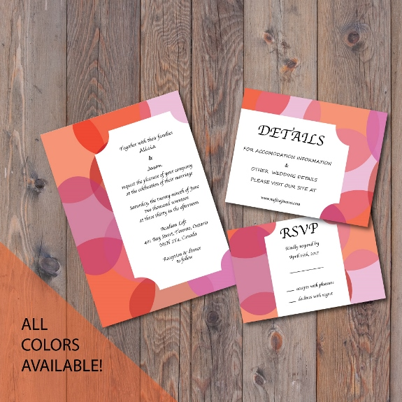 Bubble Bubble Geometric Invitation Suite available for purchase on my Etsy shop