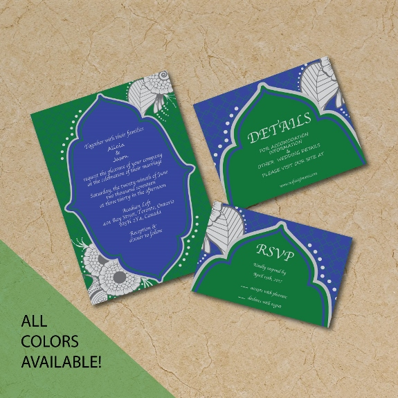 Two Tone Henna Design Invitation Suite available for purchase on my Etsy shop